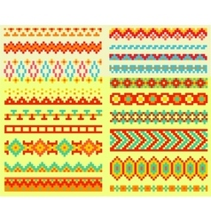 Collection of pixel brushes in tribal style vector image
