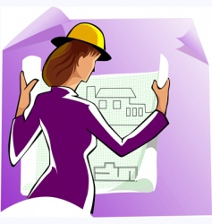 construction woman vector image