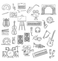 Entertainment and visual arts sketch icons vector