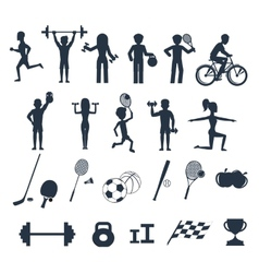 Exercises with weights and warm-up icons vector