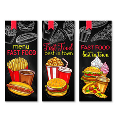 Fast food banner set with chalkboard menu vector