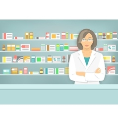 Flat style woman pharmacist at pharmacy opposite vector image vector image
