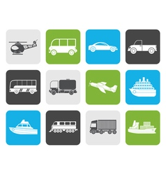 Flat travel and transportation icons vector