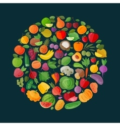 fruits and vegetables logo design template vector image vector image
