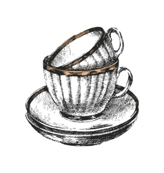hand drawn cups with saucers vector image vector image