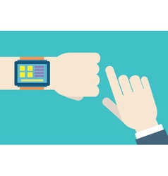 Hands with intellect watch vector