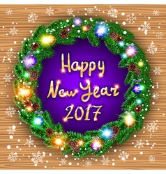Happy new year 2017 green wreath realistic vector