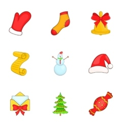 Holiday icons set cartoon style vector