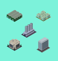 Isometric urban set of warehouse water storage vector