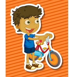 Little boy riding a bike vector image vector image