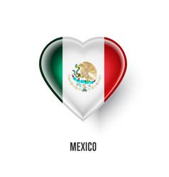 patriotic heart symbol with mexico flag vector image vector image