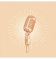 Retro golden microphone vector image