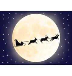 Santa sledge over full moon vector image
