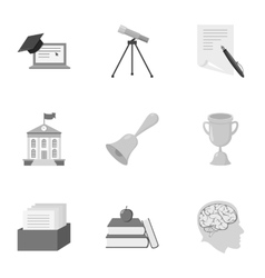 School set icons in monochrome style big vector