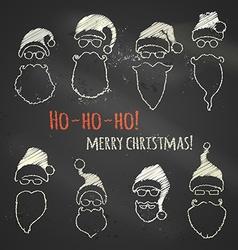 Set of chalk Santa hats and beards vector image vector image