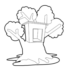 Tree house icon outline style vector
