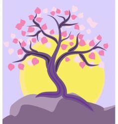 tree on the mountain top vector image