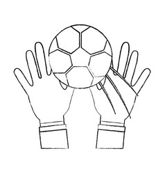Two hands hold soccer ball sport vector