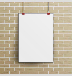 white blank paper wall poster mock up template vector image