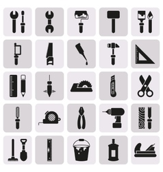 Working tools icon set on button vector image vector image