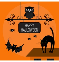 Cat arch back kitty on roof flying bats owl spider vector