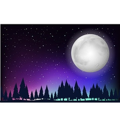 Nature scene with fullmoon and forest vector image