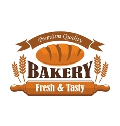 Fresh tasty bakery products premium quality label vector