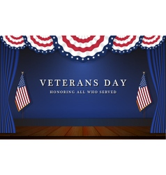 Veterans day background with circle wavy usa flag vector