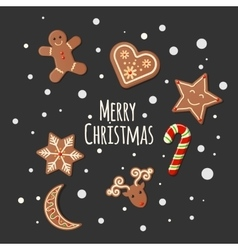 Gingerbread cookies - merry christmas sign vector