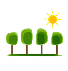 simple natural nackground with tree and sun vector image