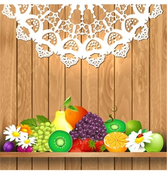 Shelves wooden fruit vector
