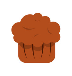 Chocolate muffin icon flat style vector