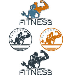 Man and woman of fitness silhouette character vector