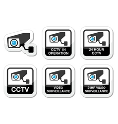CCTV camera Video surveillance icons set vector image