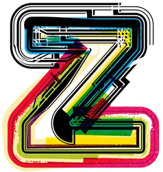 Colorful grunge font letter z vector