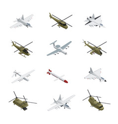 Military air force isometric icon set vector