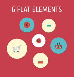 Flat icons bag trolley percentage and other vector