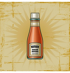 Retro ketchup bottle vector