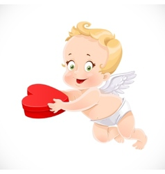 Cute cupid holding a box with a gift in the form vector