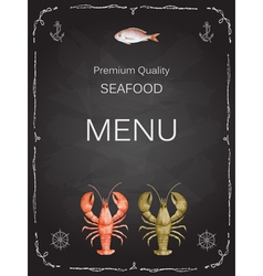 Watercolor set of seafood vector