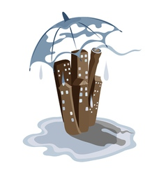 Rain in the city vector