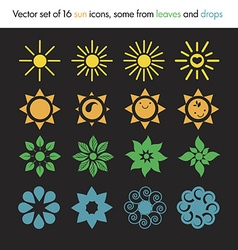 Set of 16 sun icons vector