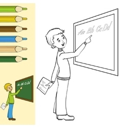 Schoolboy at blackboard outlined vector