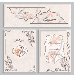 Set floral vintage ornament menu cards and vector