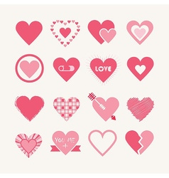 Pink valentines day hearts icon set vector