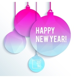 Square new year design with paper christmas balls vector