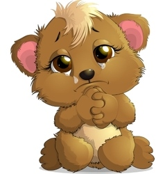 Bear sitting crying vector