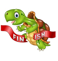 Cartoon turtle wins by crossing the finish line vector