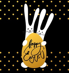 Two bunny happy easter vector