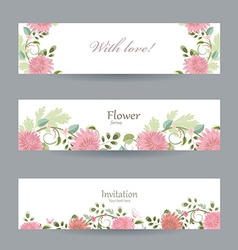 Floral invitation cards for your design with love vector